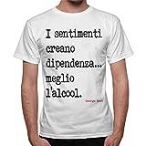 thedifferent T-Shirt Uomo Frase George Best Sentimenti Meglio L'Alcool - Bianco
