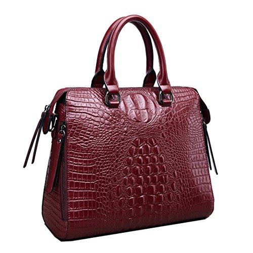 A forma di borsetta da donna in pelle di coccodrillo Missmay Purse Satchel Tote Shoulder Bag vacchetta westhome Work cross body Dark Red