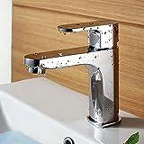 Renist 9829-d63Unique Poignée de salle de bain Eau chaude et froide Mélangeur lavabo robinet, Chrome