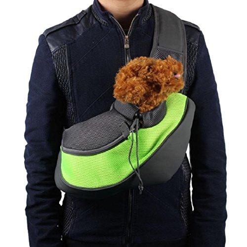Amison animale domestico cane gatto cucciolo elemento portante maglia viaggi tote spalla borsa zaino (verde, s)