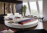 SAM Rundbett Carlos, 180 x 200 cm, Polsterbett in Weiß Lederoptik, inkl. Beleuchtung und Nachttischablagen, Chromfüße
