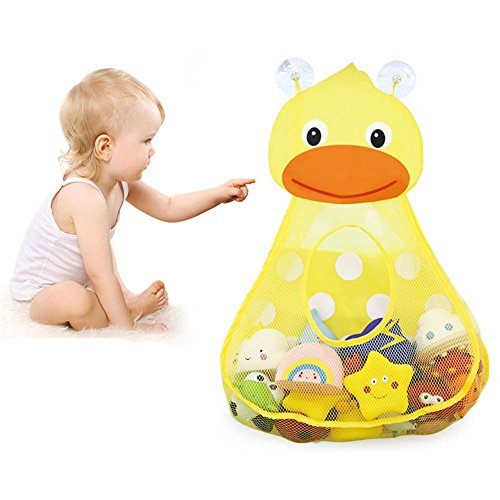 Baby Bath Toy Organizer Cute Animal Shape,Bathroom Toy Storage Net Bag with 2 Strong Suction Cups,Keep Kids Bathtub Toys Dry and Neat (Yellow Duck)