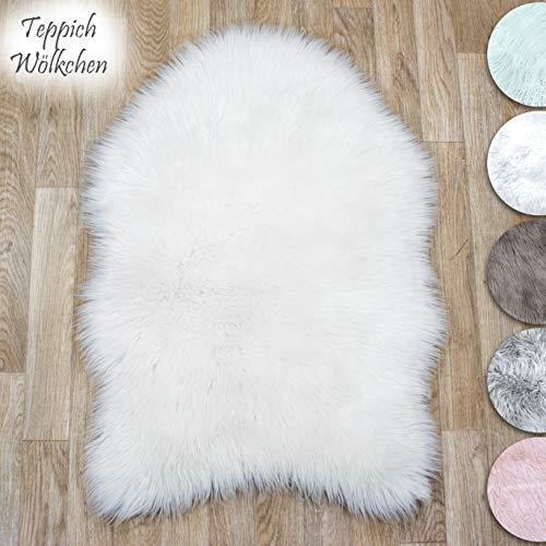 Lammfell-Teppich Weiß Kunstfell Schaffell Imitat | Wohnzimmer Schlafzimmer Kinderzimmer | Als Faux Bett-Vorleger oder Matte für Stuhl Sofa