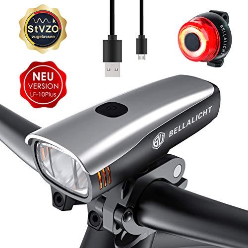 Preisvergleich Produktbild Fahrradlicht LED Set,  Fahrradbeleuchtung 60 Lux 2 Leuchtstärke,  Fahrradlichter USB Aufladbar,  Fahrradlicht Akku Vorne Hinten Fahrrad Licht Frontlicht Rücklicht,  Fahrradlampe Set IPX5 StVZO Zugelassen