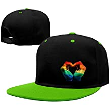 a7822933bf2e9 TOTAGASO-HAT Cool Gay Rainbow Flag Love Mano corazón Ajustable Gorras de  béisbol - -