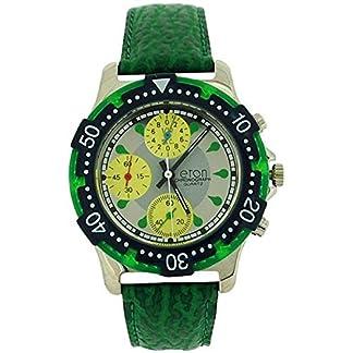 Es el efecto de los hombres de la persona en analógica Chrono 3 Sub Silver Dial color verde correa de PU reloj 1404 G