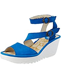 Mome860fly, Sandales Bout Ouvert Femme, Bleu (Blue), 36 EUFLY London