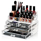 HBF Organizador De Maquillaje Acrílico (4 cajones+16 compartimientos) Caja De Cosméticos Transparente Organizadores Para Joyas Pendientes Collar Esmalte De Uñas
