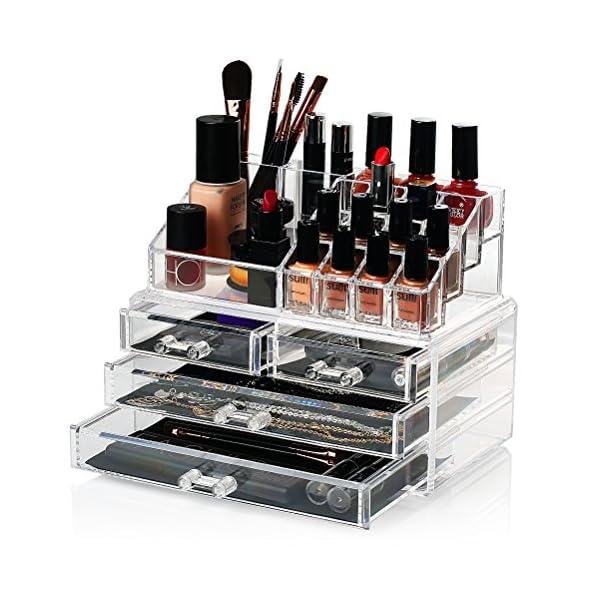 0a727957c ... Maquillaje Acrílico (4 cajones+16 compartimientos) Caja De Cosméticos Transparente  Organizadores para Joyas Pendientes Collar Esmalte De Uñas. 🔍. Envío ...