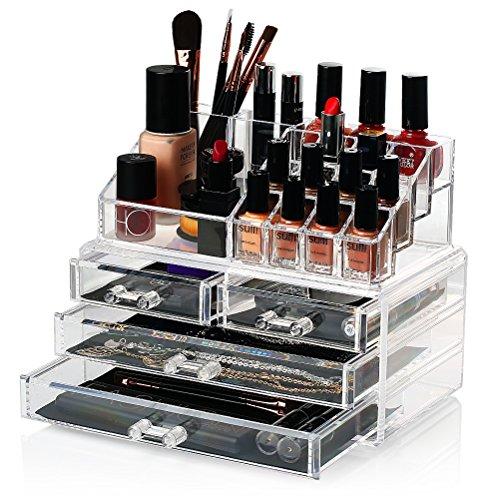 Foto de HBF Organizador De Maquillaje Acrílico (4 cajones+16 compartimientos) Caja De Cosméticos Transparente Organizadores Para Joyas Pendientes Collar Esmalte De Uñas