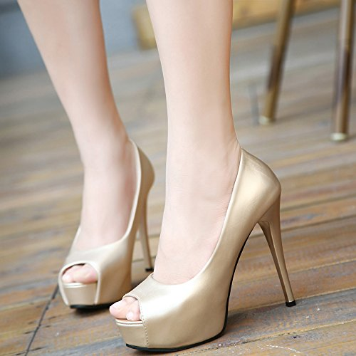 GTVERNH-golden super tacco sottile solo scarpe primavera e autunno stagione notte negozio sexy sposa d'oro di scarpe professionisti bocca di pesce scarpe da donna,37 Thirty-nine