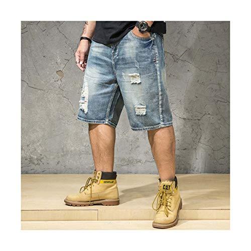 Ripped Denim Shorts Male Plus Size 4XL 5XL 6XL Jeans Destressed Shorts Men Large Big Size Bermuda Straight Fit Breeches Men Blue 4XL Fit Breeches