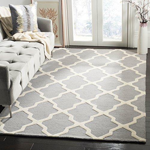 Safavieh Ava handgetufteter Teppich, CAM121D, Silber / Elfenbein, 152 X 243  cm