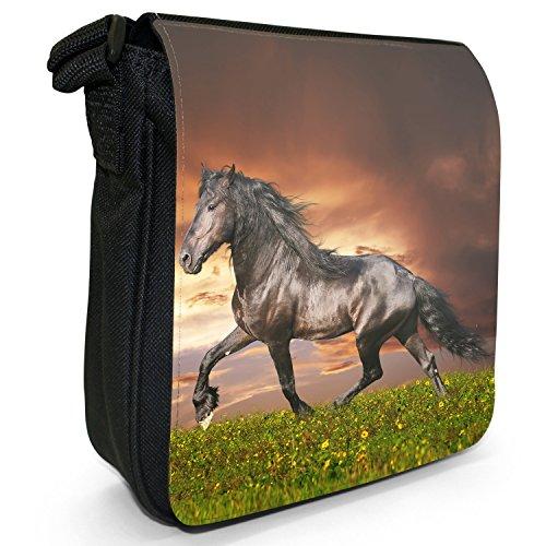 Beauty cavallo e stallone, colore: nero, Borsa a tracolla in tela, colore: nero, taglia: S Nero (Black Friesian Horse Trotting)