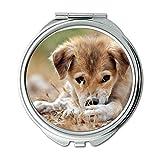 Yanteng Spiegel, runder Spiegel, golden Retriever Welpen Hund Hund Tumblr, Taschenspiegel, 1 X 2X Lupe