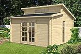Carlsson Garten Blockhaus LAUSITZ-40 ISO - Gartenhaus mit Doppel-Pultdach, Boden & Isoglas Fenster - Massivholz Blockhütte ohne Imprägnierung, 40 mm