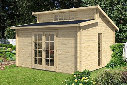 CARLSSON Garten Blockhaus LAUSITZ-40 ISO - Gartenhaus mit Doppel-Pultdach & Boden - Massivholz Blockhütte mit Imprägnierung Pinie/Kiefer, 40 mm