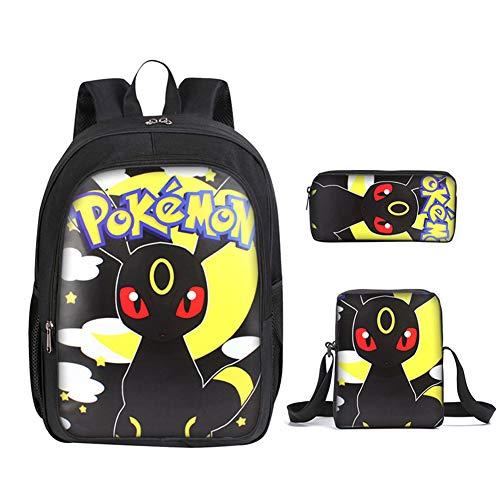 Kinder Rucksack,Enthält Pokemon-Thema Druck Rucksack Grundschule 3D Muster Schultasche(3pc),001 (Mesh-plaid-rucksack)