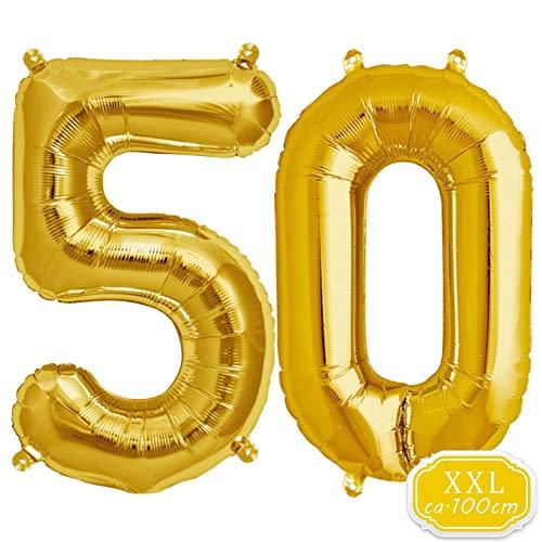 DeaGo XXL Folienballon Zahl [ca.100cm], Gold Luftballon Zahlen für Geburtstag Jubiläum & Party Geschenk partydeko Folienballon Zahlen Luftballons Happy Birthday (Gold [50])