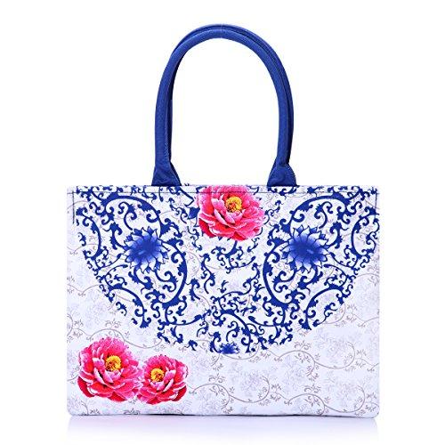 Eshow Borse a tracolla da donna di tela a mano Multifunzione per viaggio sacchetto borsa shopper bag shopping trekking blu