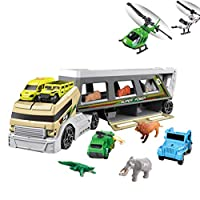 STOBOK Container Truck Toys Set Transport Vehicle Animal Container Car Gift for Kids Children (Random Color)