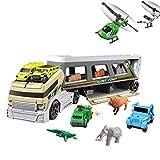 STOBOK Juego de Juguetes para Camiones de contenedores Conjunto de vehículos de Transporte Animal Contenedor Coche Regalo para niños Niños (Color Aleatorio)