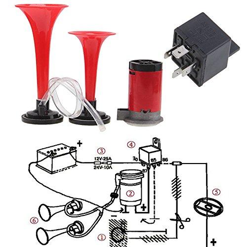 Odster Super lautes 135dB Doppeltrompete Air Horn Kompressor-Kit Ersatz Zubeh?r f¨¹r 12V Universal-Zug-Auto-LKW-Boot