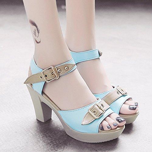 RUGAI-UE Bocca di pesce la fibbia della cinghia di sandali estivi Waterprotable tacco Scarpe Donna Moda scarpe High-Heeled Blue