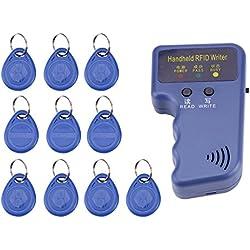 Photocopieuse de Poche Portatif 125KHz RFID ID Copieur/Graveur/Lecteurs/Duplicateur avec 10 PCS ID Balises inscriptibles des Télécommandes