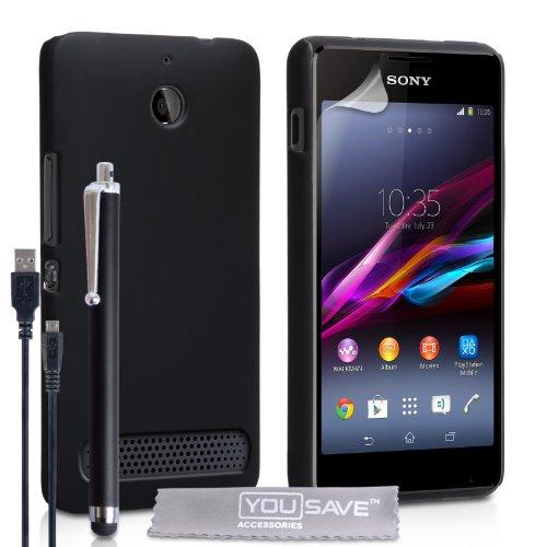 Yousave Accessories Cover Per Sony Xperia E1 Custodia Duro Ibrido Nero Con Stilo Penna e (E1 Ibrida)
