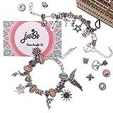 Kit Fabrication de Bracelets à Breloques - Coffret Cadeau Bijoux Chaînes Serpents Plaquées Argent et Perles Européennes Pour Filles Ados