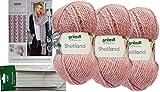 Gründl 3x100g Shetland Wolle SB Pack inkl. Strickanleitung Schal mit Lochmuster aus 80% Polyacryl, 20% Wolle + 1 Rundstricknadeln mit Seil + 3 Strasssteine Zum aufnähen (01 Rosa)