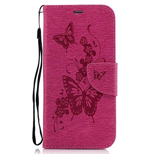 Hülle für Samsung Galaxy S7 Edge Schmetterling,TOCASO Glitter Strass Bling Ledertasche Muster Weich PU Schutzhülle für Samsung Galaxy S7 Edge Flip Cover Wallet Case Tasche Handyhülle mit Lanyard Strap butterfly, 3