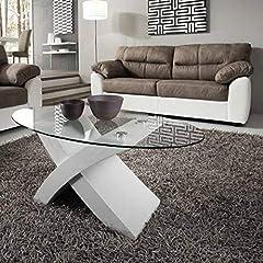 Idea Regalo - Mocada Tito Tavolino da Salotto in Legno e Cristallo Ovale Soggiorno Design - Bianco Frassinato