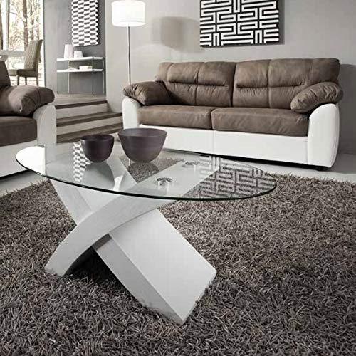 Tito Table de salon design en bois et verre trempé, ovale Bianco Frassinato