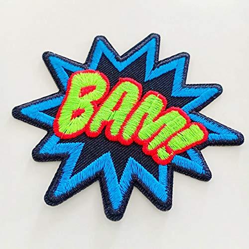 Bam Superhero Comix Retro Fun bestickte Aufnäher Bügelbild S BAM! zum Verzieren Ihrer Jeans, Hüte, Taschen, Jacken und Hemden. (Bam Taschen)
