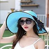 GAOQIANGFENG Womens UPF 50 + Sommerferien für Frauen, Outdoor-Sonnenschirm Hut, Falten, Anti-UV, große Strandkappe, Blau