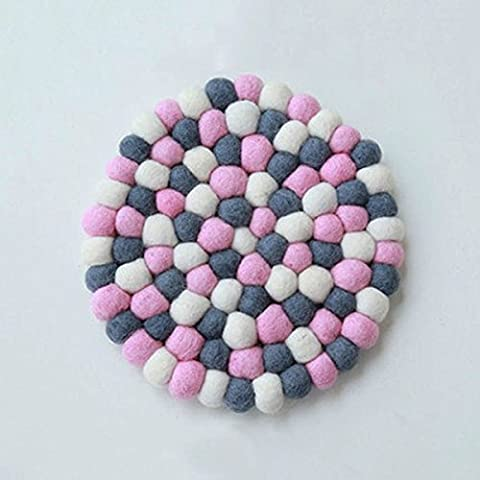 Fatto a mano in feltro, Palla sottobicchieri 10cm 4pezzi in feltro di lana palla Handcraft pink and grey