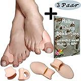 ValgoFit 6x Zehenspreizer gegen Hallux Valgus mit Ballenschutz, Bandage Korrektur, Softgel-Silikon Zehentrenner Schiene für Damen und Herren - inkl. eBook