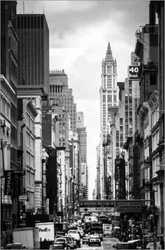 Leinwandbild 80 x 120 cm: Manhattan Straßenschlucht von Michael Haußmann - fertiges Wandbild, Bild...