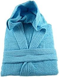 Aqua Hooded Bathrobe 100% Cotton Terry Towelling + Matching Belt - Medium Size
