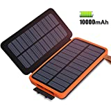 ADDTOP Solar Charger 10000mAh, Solar Power Bank with 2 Solar Panels Waterproof Portable