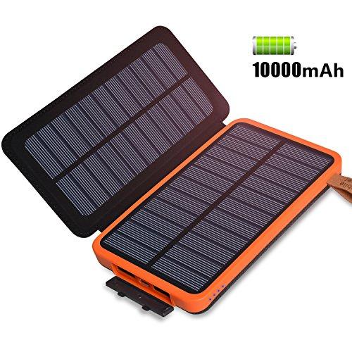 Feelle caricabatterie solare, portatile power bank 10000mah with 2 pannello solare con 2 porte usb per iphone,ipad, samsung, tablet,huawei(leggero, pieghevole, impermeabile