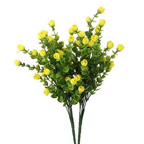 ELECTROPRIME 35CM 6-Branches Artificial Eucalyptus Plant Silk Flowers Home Decor Yellow