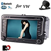 """VW Car Stereo Navigator - In Dash Double Din Car Radio Multimedia DVD Player with 7"""" LCD Capacitive Touch Screen Headunit Bluetooth USB SD AM FM RDS Mirror Link CANBUS with Free Backup Camera"""