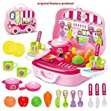 KIDSZONE Pretend Play Carry Along Kitchen Food Play Set for Girls