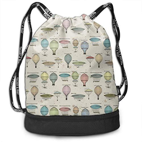 oons and Airships Men Women Waterproof Drawstring Backpack Rucksack Yoga Dance Travel Shoulder Bags ()