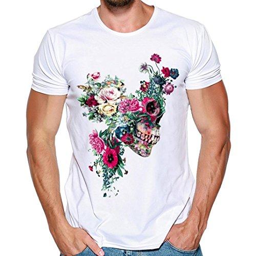 MRULIC Herren Fashion T-Shirt Einfaches Shirt Sommer Skull Pattern Weiß Tops(A-Weiß,EU-46/CN-XL) (Überprüfen Sie Wolle Seide Schal)