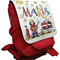 Kindergartenrucksack mit Namen, Feuerwehr, Rosirosinchen, personalisierter Kinderrucksack