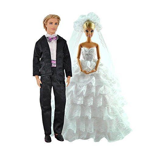 Set von Modischer weiß Hochzeit Kleid KLEID & Formeller Anzug Kleidung Outfit für Barbie Ken Puppen (Puppen nicht im Lieferumfang enthalten) - von fat-catz-copy-catz